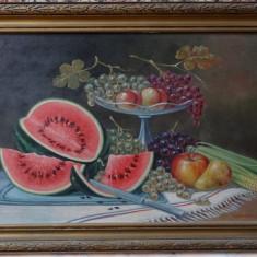 Tablou original Kusovsky-Fructe-Ulei pe carton-cu rama-dim fara rama 70x50cm - Pictor strain