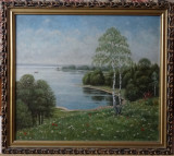 Tablou original Kusovsky-Peisaj-Ulei pe carton-cu rama-dim fara rama 55x45