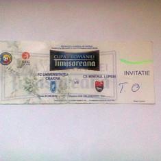 Universitatea Craiova-CS Minerul Lupeni (21 septembrir 2010) / invitatie Cupa Romaniei - Program meci