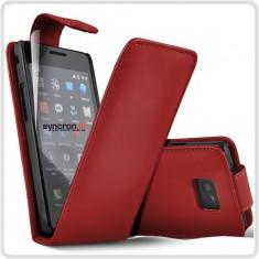 Husa piele rosie toc flip Samsung Galaxy S2 i9100 + folie ecran + expediere gratuita Posta - sell by Phonica