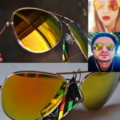 Ochelari de soare aviator GALBEN LAMAIE oglinda, Unisex, Pilot