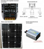 Sistem Fotovoltaic Complet 50 W 12 V  Panou monocristalin , Panouri Fotovoltaice