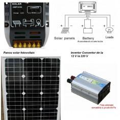Sistem Fotovoltaic Complet 50 W 12 V Panou monocristalin, Panouri Fotovoltaice - Panou solar