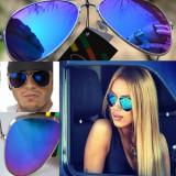 Ochelari de soare aviator ALBASTRU oglinda, Unisex, Pilot, Plastic
