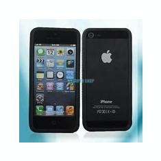 Husa Bumper silicon negru Iphone 5 5G 5S + folie protectie ecran - Bumper Telefon