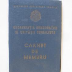 CARNET NOU MEMBRU ORGANIZATIA DEMOCRATIEI SI UNITATII SOCIALISTE DIN ANII 80, Documente