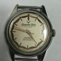 MANHATTAN ELECTRA ENERMATIC MAINSPRING - CEAS BARBATESC DE COLECTIE - VINTAGE - ELVETIAN - ANII 1950 - 60 - STARE DE FUNCTIONARE - DIAMETRUL 34 MM - Ceas de mana