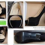 Pantofi dama cu toc inalt negru auriu ocazii evenimente nunta botez cununie velur marime 38 noi Garantia de livrare la plata cu cardul - Pantof dama