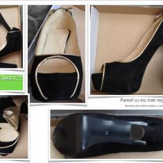 Pantofi dama cu toc inalt negru auriu ocazii evenimente nunta botez cununie velur marime 38 noi Garantia de livrare la plata cu cardul