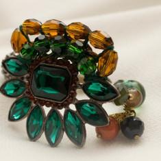 Bratara fashion cu pietre verzi