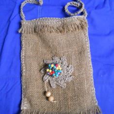 TRAISTUTA DIN PANZA DE SAC (CANEPA) - Geanta handmade