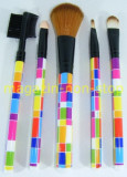 Trusa Set 5 Pensule Machiaj Fard Pudra Rimel Sprancene Pensula