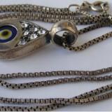 Lant cu medalion pandantiv din argint in forma de ochi - Pandantiv argint