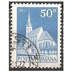 TIMBRE 103b, ROMANIA, 1973, BISERICA REFORMATA DEJ, 50 BANI, STAMPILAT, FARA GUMA; TEMA : ARTA, BISERICA, MONUMENT, ARHITECTURA, CONSTRUCTIE - Timbre Romania