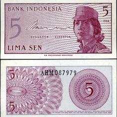 INDONEZIA- 5 SEN 1964- UNC!! - bancnota asia