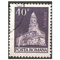 TIMBRE 103d, ROMANIA, MONUMENTE, 1973, BISERICA ROMANICA DIN DENSUS, 40 BANI, STAMPILAT; TEMA : ARTA, MONUMENT, ARHITECTURA, CONSTRUCTIE - Timbre Romania