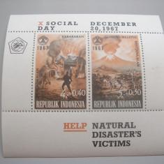 Indonezia  1967 dezastre naturale  vulcani  MI  bl.9    MNH   cota  Michel = 55 eu