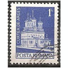TIMBRE 103c, ROMANIA, MONUMENTE, 1973, MANASTIREA CURTEA DE ARGES, 1 LEU, STAMPILAT, FARA; TEMA : ARTA, BISERICA, MONUMENT, ARHITECTURA, REGE - Timbre Romania
