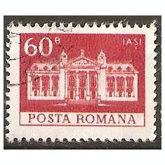 TIMBRE 103i, ROMANIA, MONUMENTE, 1973, TEATRUL NATIONAL IASI, 60 BANI, STAMPILAT; TEMA : ARTA, MONUMENT, ARHITECTURA, CONSTRUCTIE - Timbre Romania