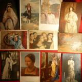 Set 28 Ilustrate vechi -Femei in Pictura - Carte postala tematica