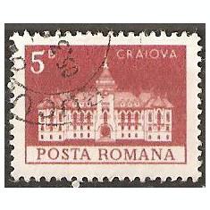TIMBRE 103e, ROMANIA, MONUMENTE, 1973, PALATUL CONSILIULUI POPULAR DIN CRAIOVA, 5 BANI, STAMPILAT; TEMA : ARTA, MONUMENT, ARHITECTURA, CONSTRUCTIE - Timbre Romania