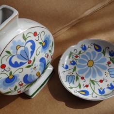 Set vaza + scrumiera model rustic - Portelan Lubiena Polonia