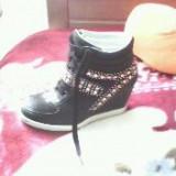 Vand Sneakers dama cu strasuri - Ghete dama, Culoare: Negru, Marime: 38, Negru