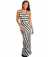 123123Fara Maneci, Print All Over Elegant, Rochie Maxi, Ivoriu Negru