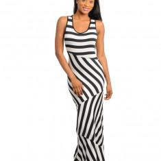 Fara Maneci, Print All Over Elegant, Rochie Maxi, Ivoriu Negru