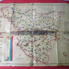 Harta veche judetul Timis-Torontal 1934, harta demografica si administrativa
