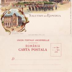 Salutari din Bucuresti - Palatul Regal- tema Casa Regala- litografie 1900