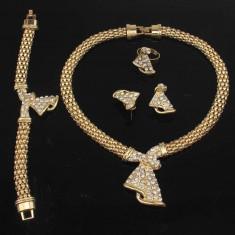 Statement-Set de bijuterii Aur placat 18k, Cristale : cercei, colier, bratara - Set Swarovski