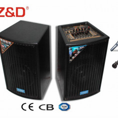 SISTEM PROFESIONAL 2 BOXE ACTIVE/AMPLIFICATE ,MIXER INCLUS,MP3 PLAYER STICK USB/CARD,EFECTE VOCE+2 MICROFOANE WIRELESS BONUS !