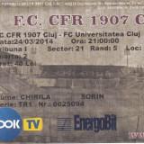 Bilet Fotbal meci CFR 1907 CLUJ - FC UNIVERSITATEA CLUJ neindoite 24.04.2014