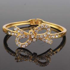 Promotie! Bratara Swarovski Pretty Bowknot placata cu aur - ideal cadou