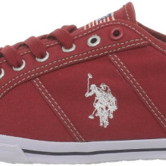 43_Adidasi originali US POLO ASSN_tenisi barbati_din panza_rosu_in cutie, Textil