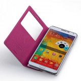 Husa toc S view Samsung Galaxy Note 3 N9000, Roz, Piele Ecologica