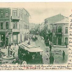 1233 - GALATI, tramway, royal Square - old postcard - used - 1900
