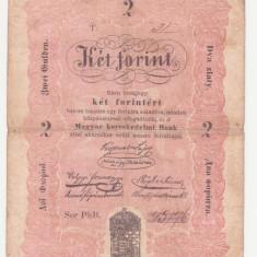 BANCNOTA UNGARIA - 2 FORINT 1848 - SERIE SCRISA MANUAL, SEMNATURA LAJOS KOSSUTH - MAI RARA
