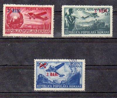 LP319 , POSTA AERIANA 1948 CU SUPRATIPAR 3 BANI ,1952 foto