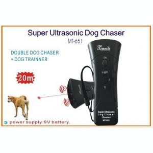 Dispozitiv Double Ultrasunete pentru alungare caini, LED light and Laser 4 in 1