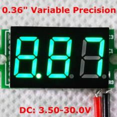 Voltmetru digital cu leduri verzi, 3.5 - 30 V, cu 3 digit si 2 fire