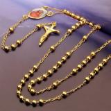 Lantisor cu chipul Fecioara Maria si cruciulita dublu placat aur 18k FL21