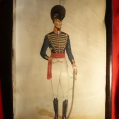 Tablou - Cavaler in Artileria Calare Anglia 1815, semnat Rl Vymer, 23, 7x34, 4 cm - Reproducere