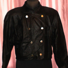 Geaca din piele naturala neagra scurta - Geaca dama, Marime: M/L, Culoare: Negru