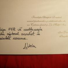 Felecitare emisa de Fundatia Olimpica Romana, semnata D.Voicu, tiparita de I.Tiriac