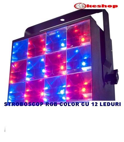 STROBOSCOP DE PUTERE MARE CU 12 LEDURI SMD FULL COLOR RGB,SENZOR MUZICA.NOUTATE!