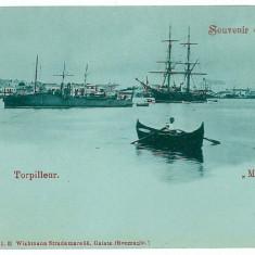 1620 - L i t h o, GALATI, harbor, ships - old postcard - unused - Carte Postala Moldova pana la 1904, Necirculata, Printata