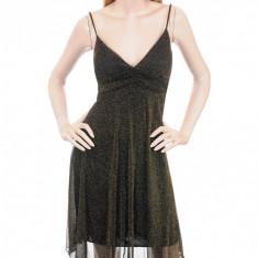 Rochie Eleganta Negru cu Auriu, M, S, Multicolor