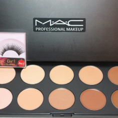 Paleta profesionala MAC de 10 corectoare fond de ten + Gene false cadou Mac Cosmetics